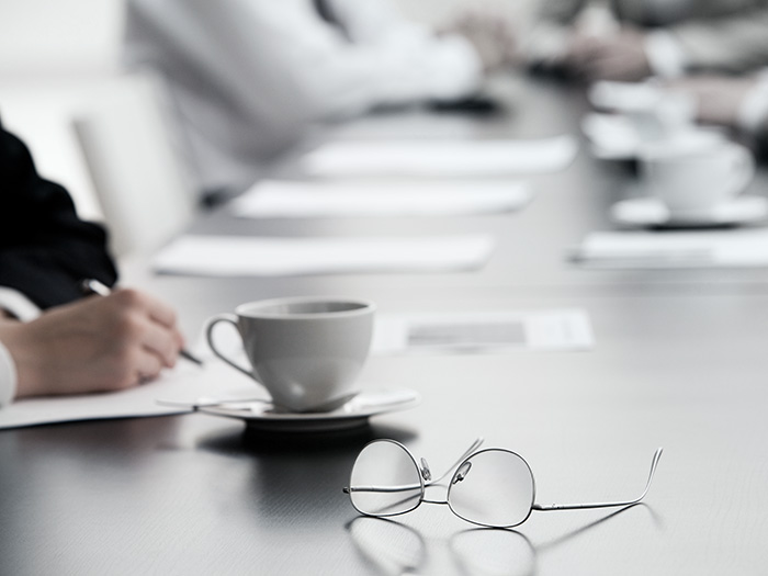 Glasses on table meeting room